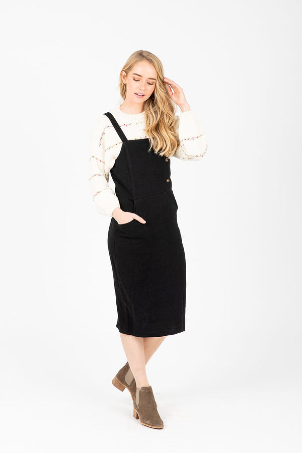 The Marinette Side Button Jumper Dress in Black
