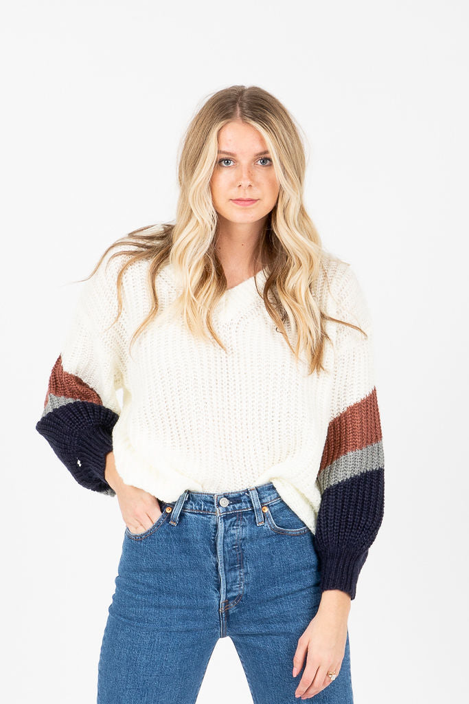 The Sharon Detailed Sleeve Sweater in Ivory