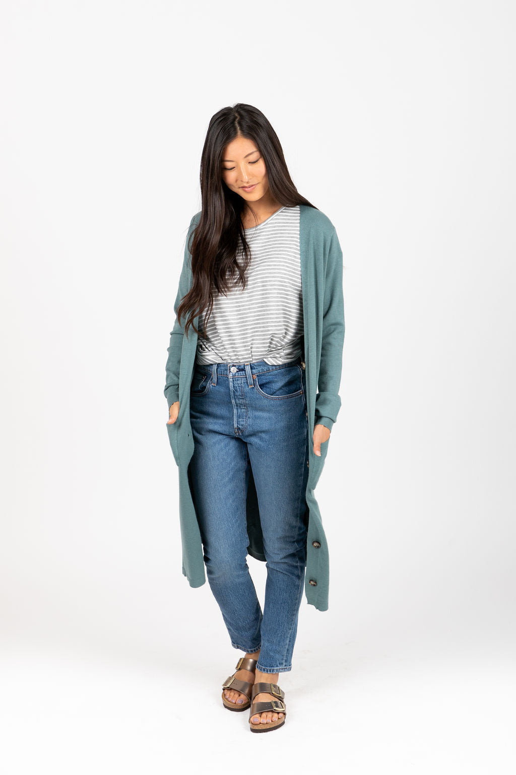 The Mason Duster Cardigan in Faded Jade