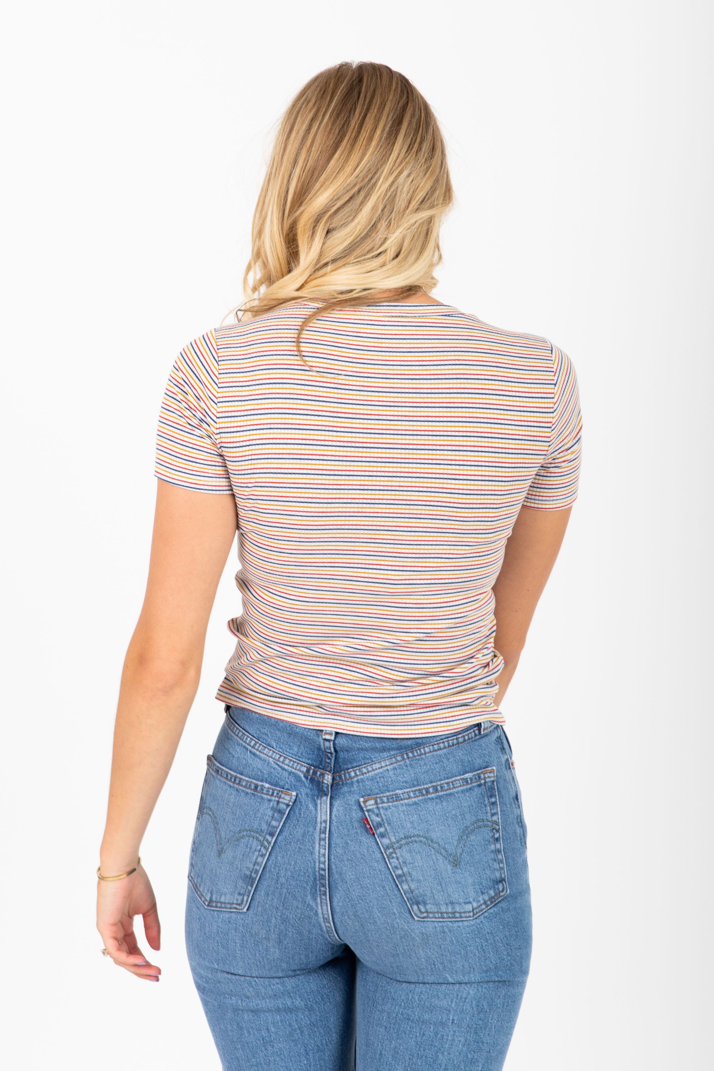 The Weekender Ribbed Striped Top in Multi
