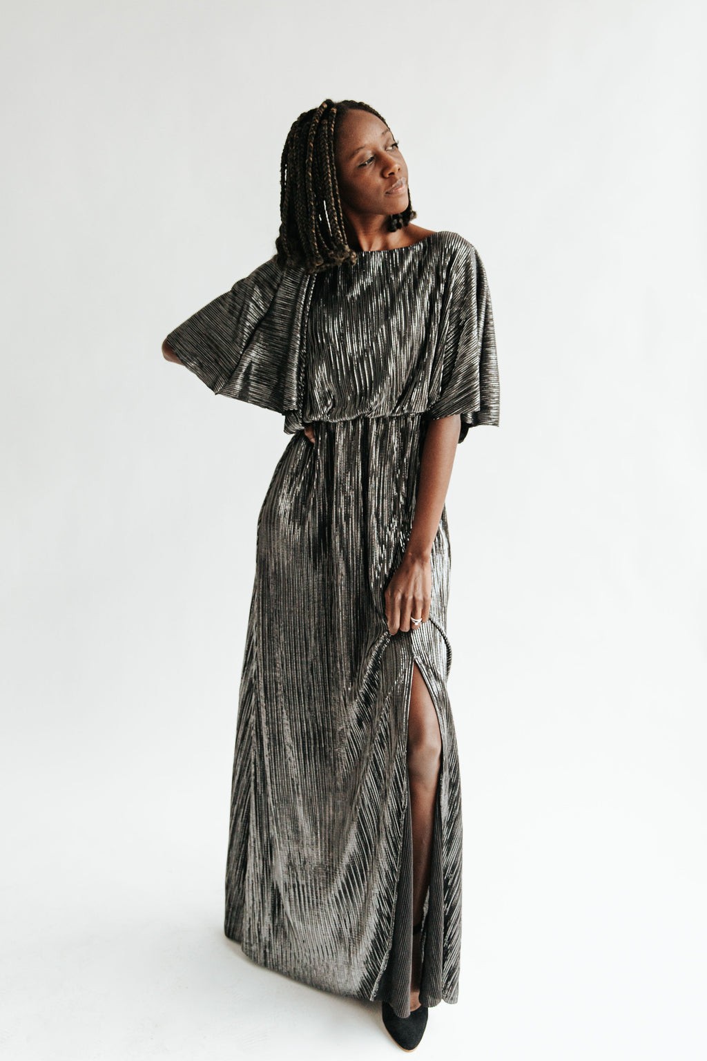 The Anastasia Shimmer Dress in Black, studio shoot; front view