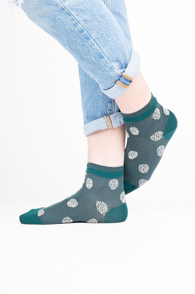 Boucle Dot Short Crew Socks in Hunter Green