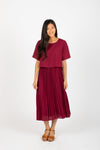 Piper & Scoot: The Hepburn Bib Dress in Burgundy