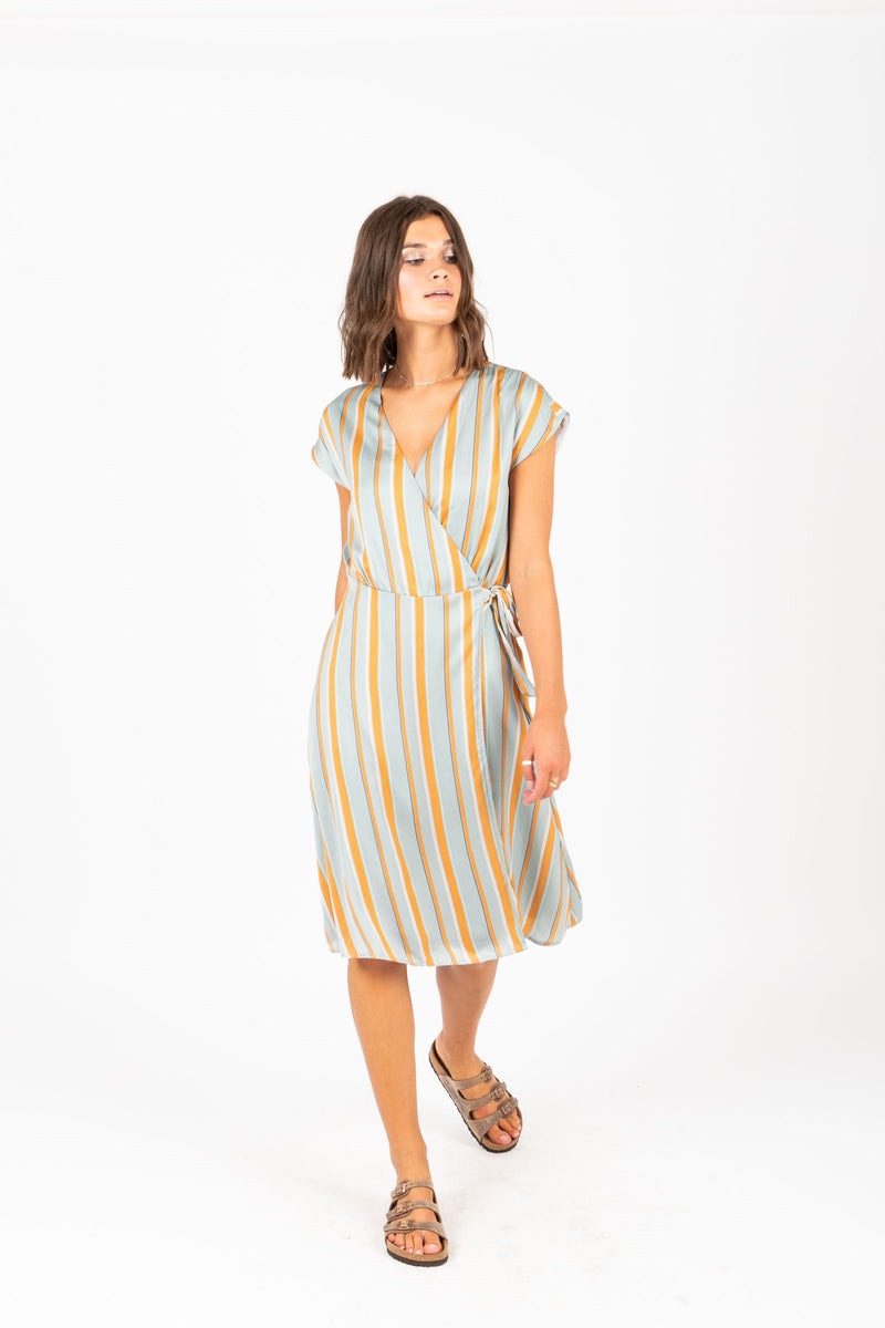 The Heidi Striped Wrap Dress in Aqua, studio shoot; front view
