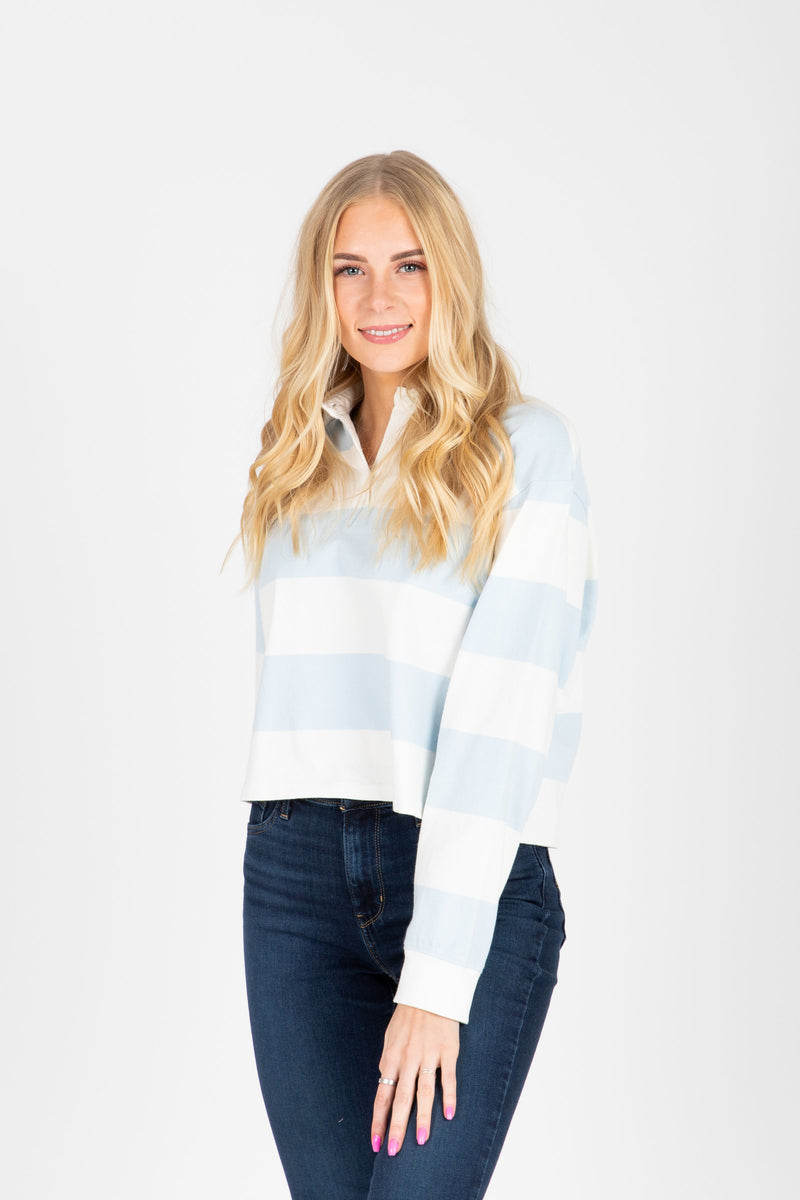 Levi's: Longsleeve Fashion Rugby Tee in Baby Blue + White Stripe, studio shoot; front view