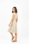 The Heidi Striped Wrap Dress in Aqua, studio shoot; side view