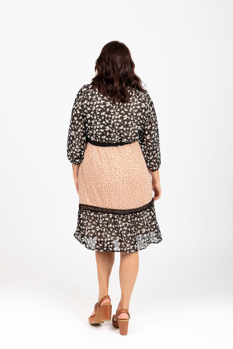 Piper & Scoot: The Leo Mixed Pattern Dress in Blush