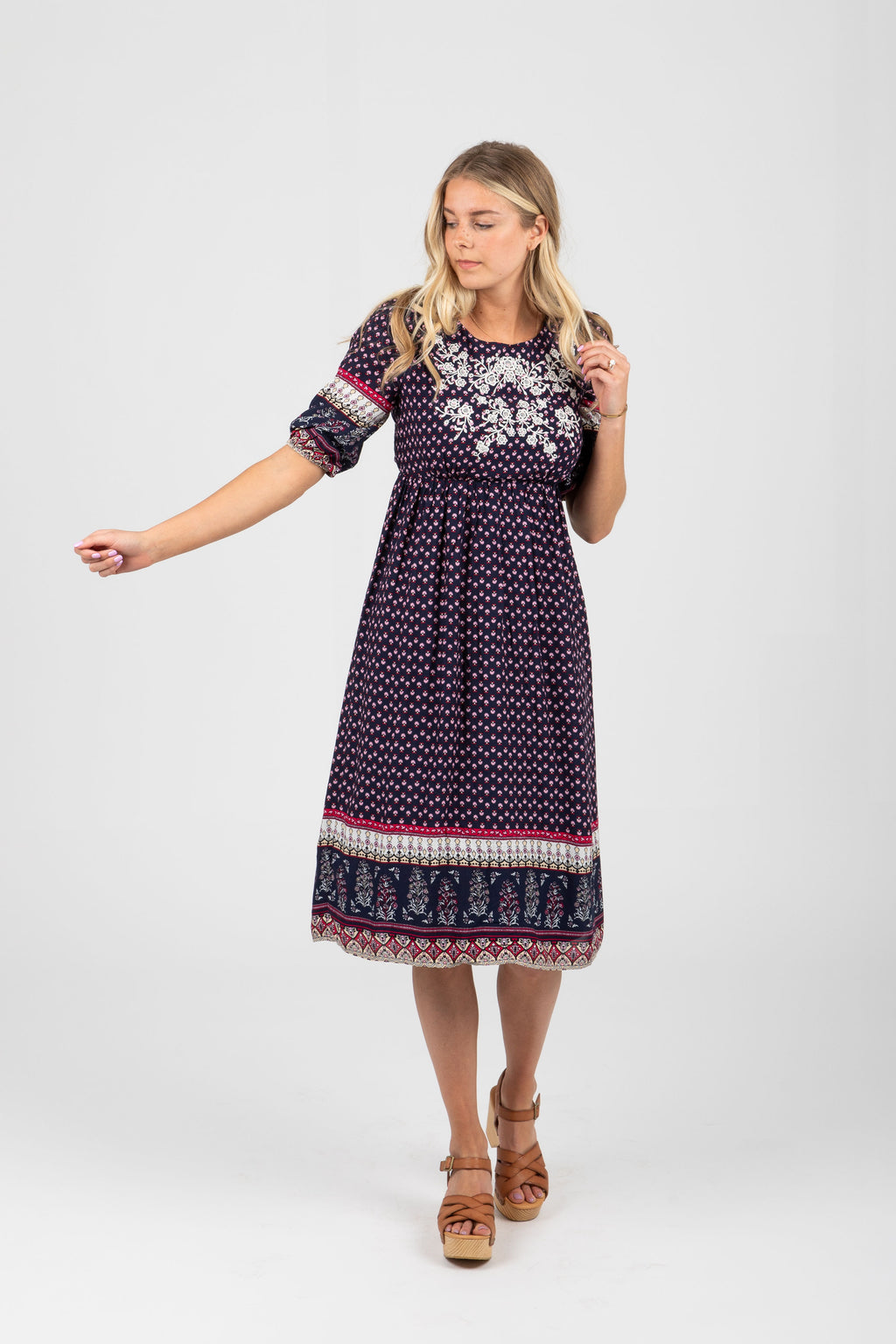 Piper & Scoot: The Kamrie Embroidered Detail Dress in Navy