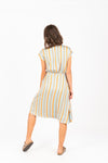The Heidi Striped Wrap Dress in Aqua, studio shoot; back view