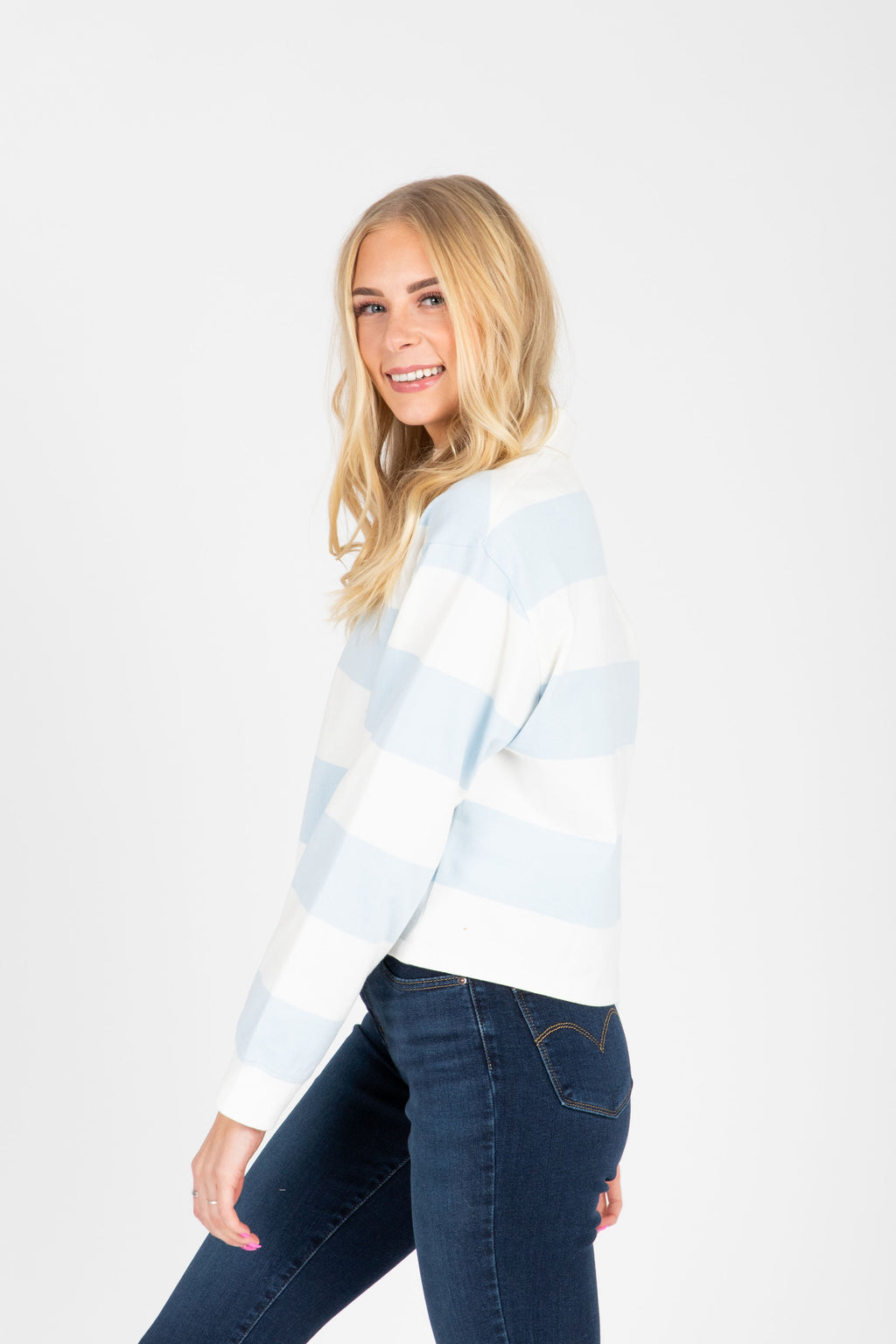 Levi's: Longsleeve Fashion Rugby Tee in Baby Blue + White Stripe, studio shoot; side view