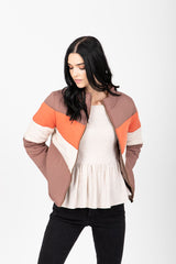 The Tamara Striped Bomber Jacket in Cocoa
