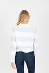 Levi's: Longsleeve Fashion Rugby Tee in Baby Blue + White Stripe, studio shoot; back view