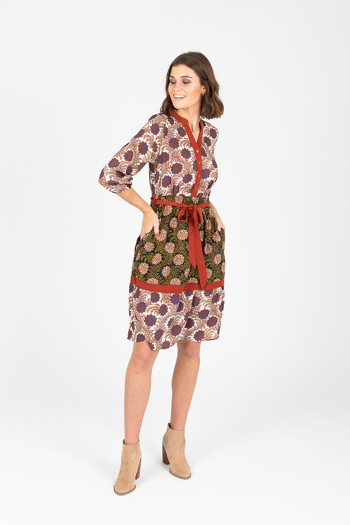 Piper & Scoot: The Jenni Mixed Pattern Dress in Red Multi