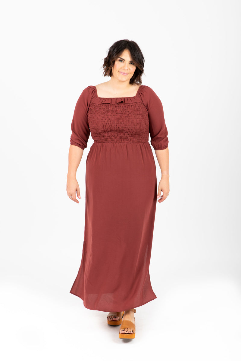 Piper & Scoot: The Carly Ruffle Maxi Dress in Burgundy