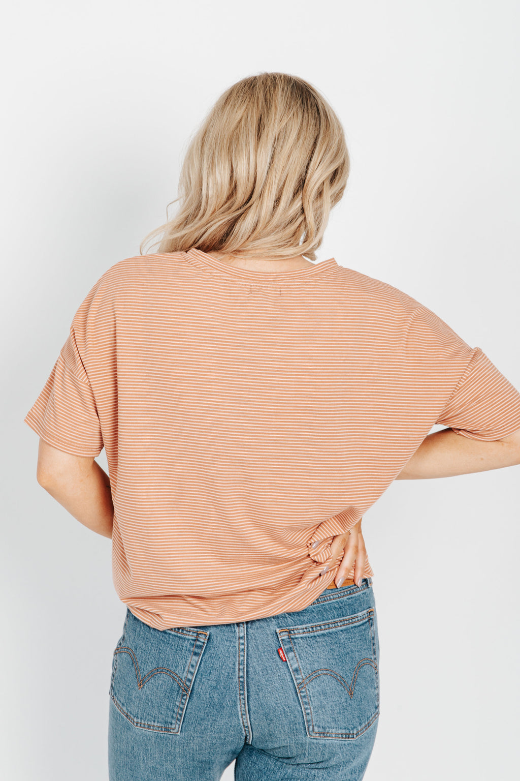 The Peyton Striped Tee in Clay, studio shot; back view