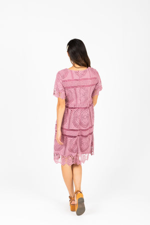 The Chenoa Lace Detail Dress in Plum