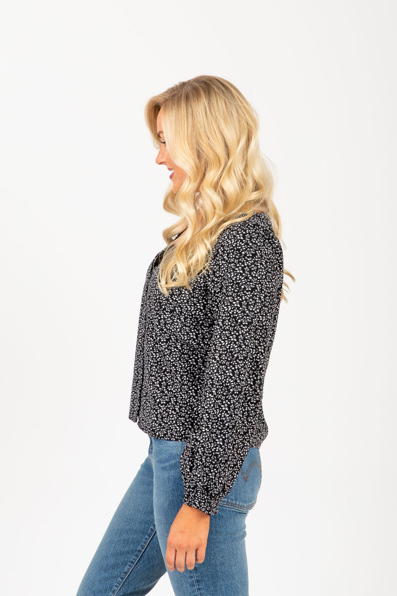 The Select Patterned Blouse in Black, studio shoot; side view