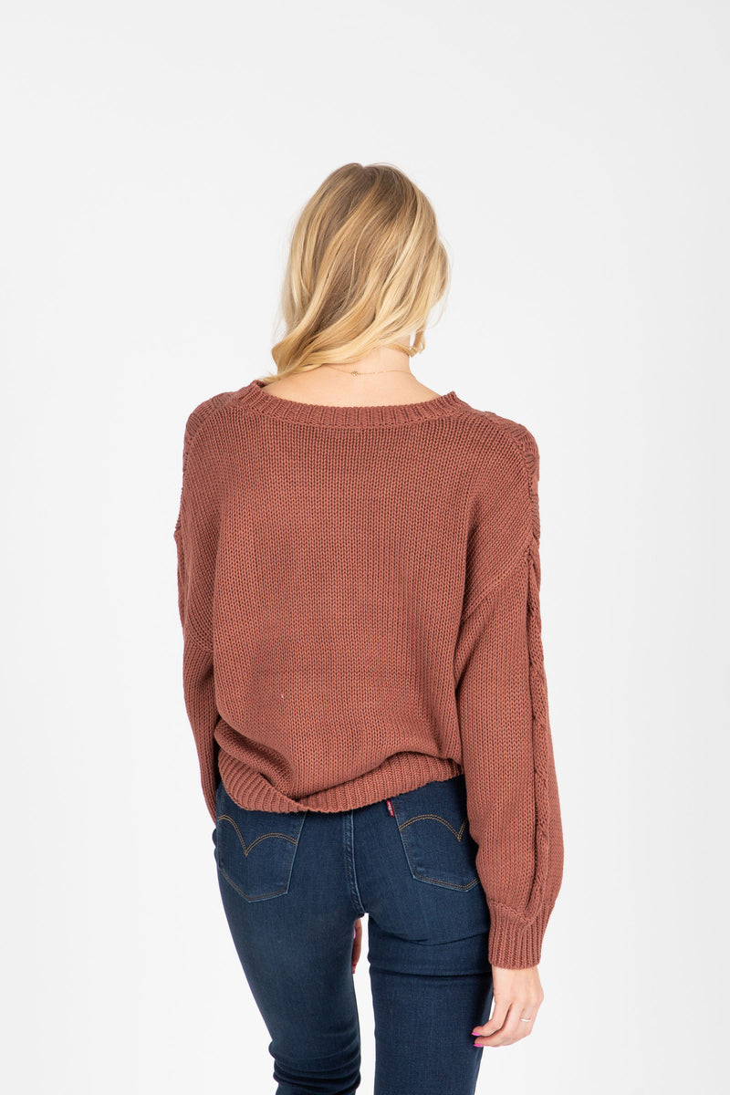 The Wanda Knit Sweater in Clay, studio shoot; back view