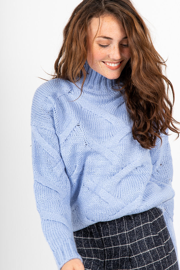 The Nazan Mock Neck Sweater in Periwinkle