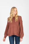 The Fay Soft Turtleneck Sweater in Burgundy