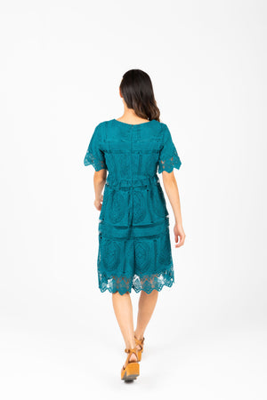 The Chenoa Lace Detail Dress in Jade