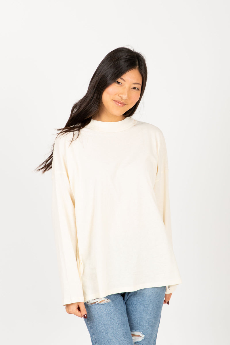 The Coast Easy Mock Neck Tee in Cream, studio shoot; front view