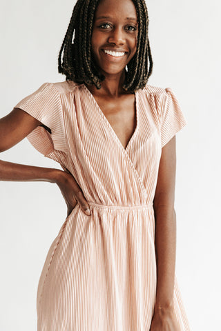 The Beverly Embroidered Wrap Dress in Blush
