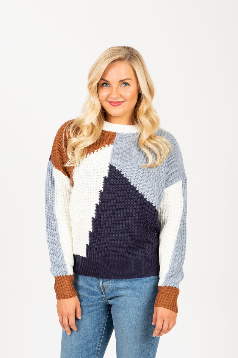 The Trust Angle Block Sweater in Blue Multi, studio shoot; front view