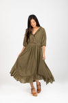 Piper & Scoot: The Prodigy Cotton Midi Dress in Olive, studio shoot; front view