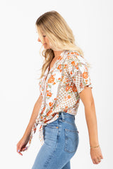 The Schmidt Patterned Tie Front Blouse in Multi