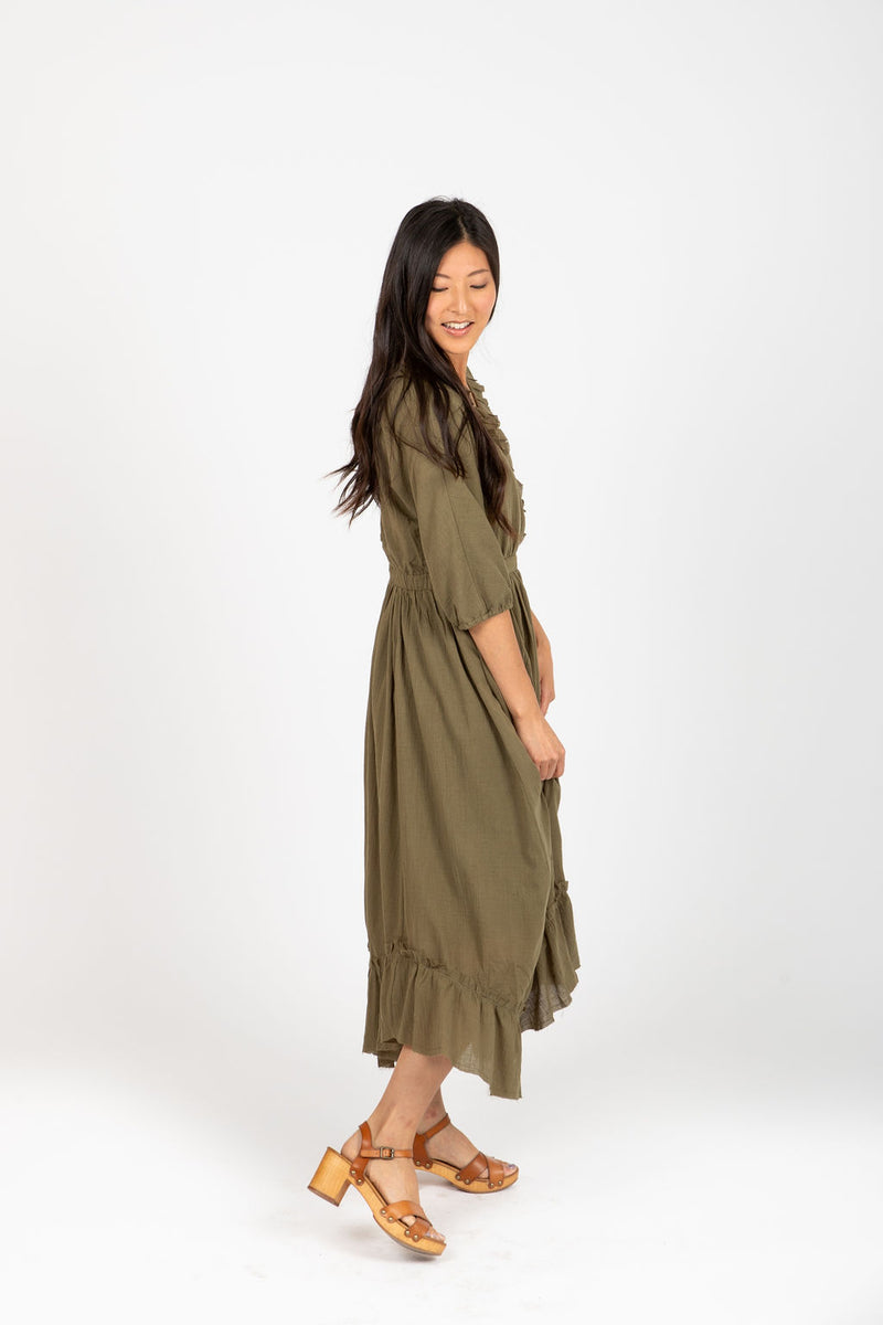 Piper & Scoot: The Prodigy Cotton Midi Dress in Olive, studio shoot; side view