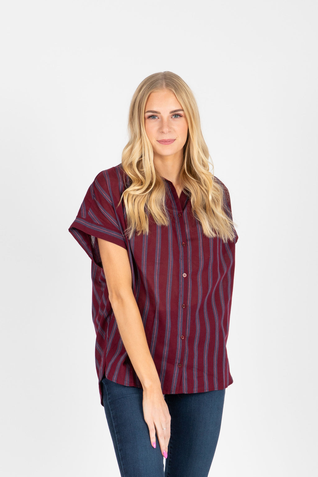 The Amya Striped Button Up Blouse in Plum, studio shoot; front view