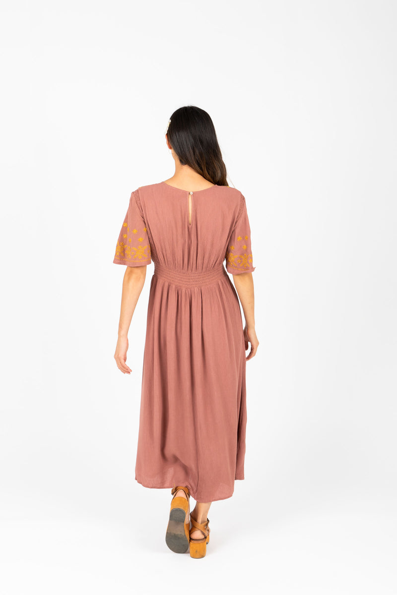 The Cadence Embroidered Detail Dress in Mauve