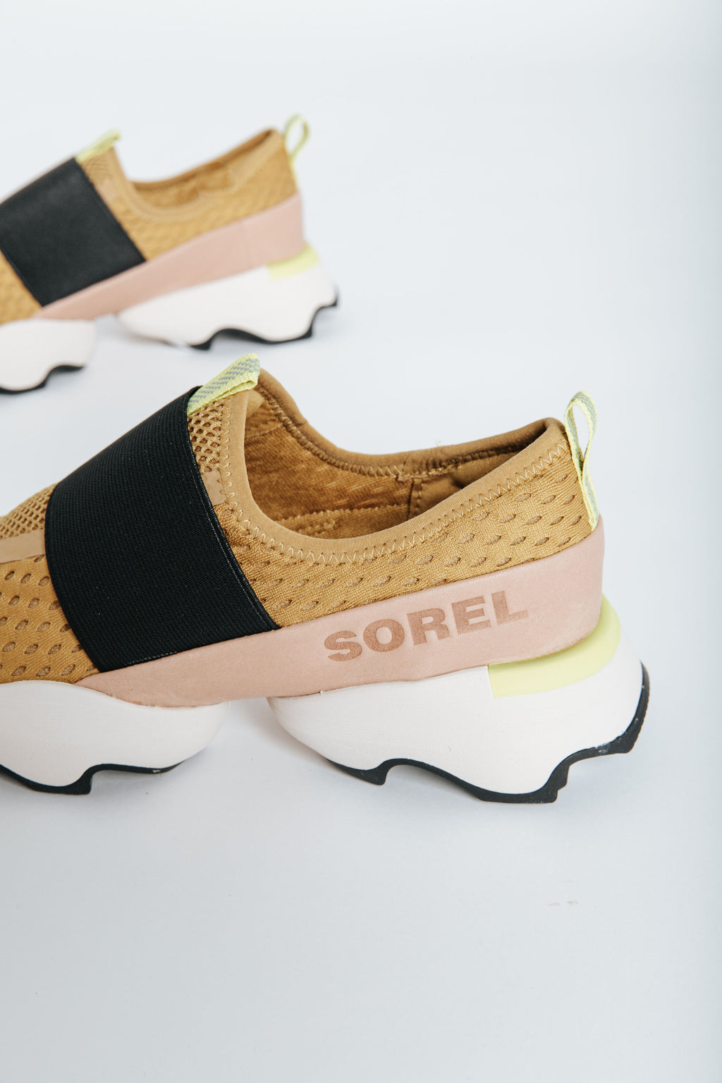Sorel: Womens Kinetic™ Impact Strap Sneaker in Gold, studio shoot, side view