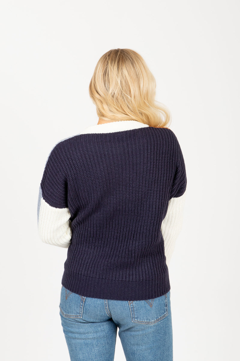 The Trust Angle Block Sweater in Blue Multi, studio shoot; back view