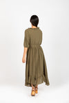 Piper & Scoot: The Prodigy Cotton Midi Dress in Olive, studio shoot; back view