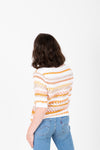 The Omri Striped Button Knit in Mustard, studio shoot; back view