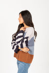 The Rise Striped Contrast Sweater in Navy Multi, studio shoot; side view