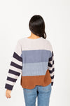 The Rise Striped Contrast Sweater in Navy Multi, studio shoot; back view