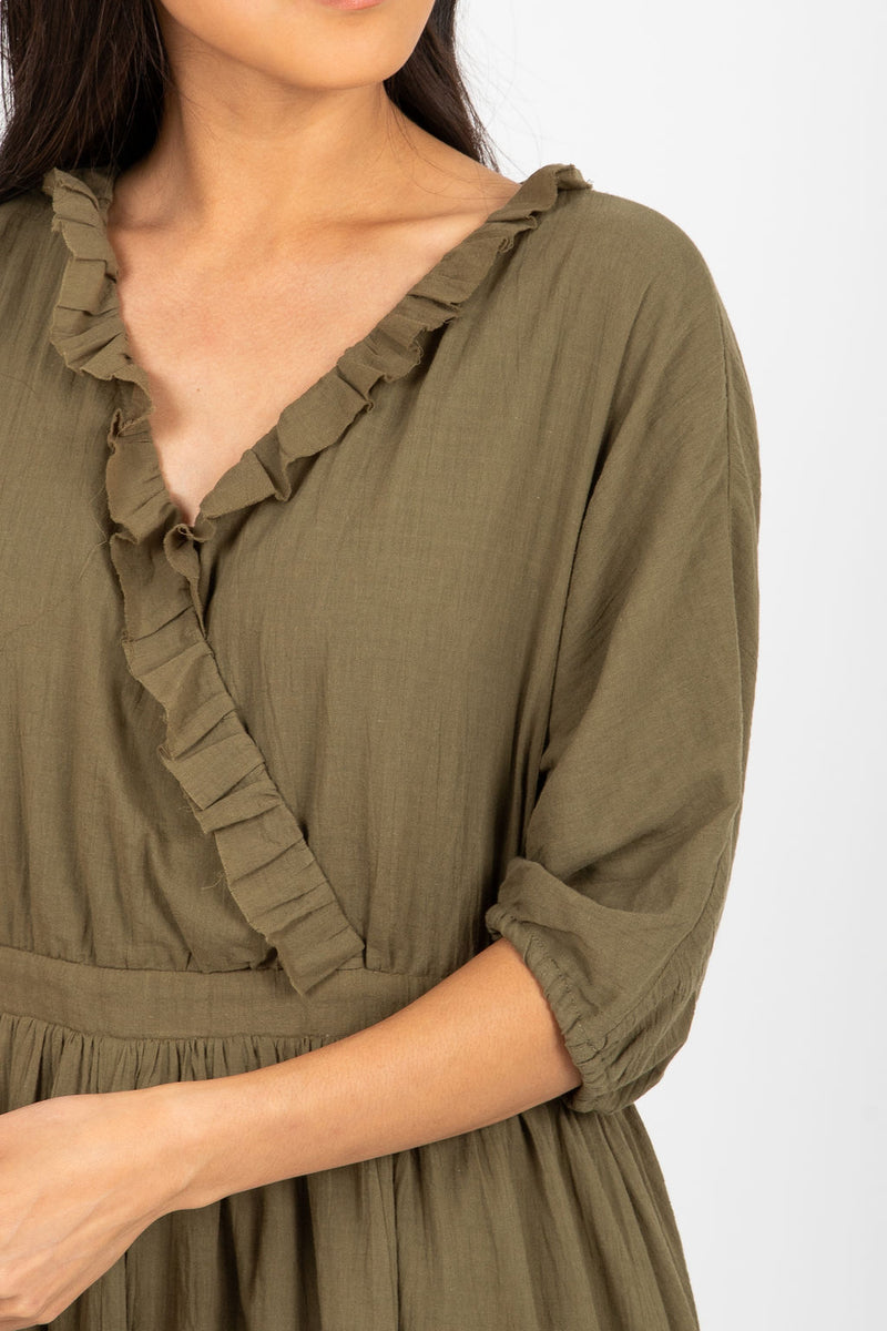 Piper & Scoot: The Prodigy Cotton Midi Dress in Olive, studio shoot; closer in front view