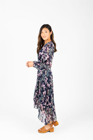 The Kameron Floral Wrap Dress in Dusty Periwinkle