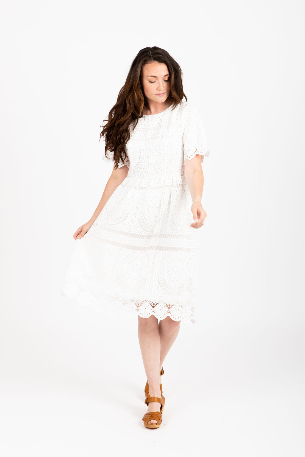 The Chenoa Lace Detail Dress in White