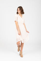 The Warba Swiss Dot Empire Dress in Cream