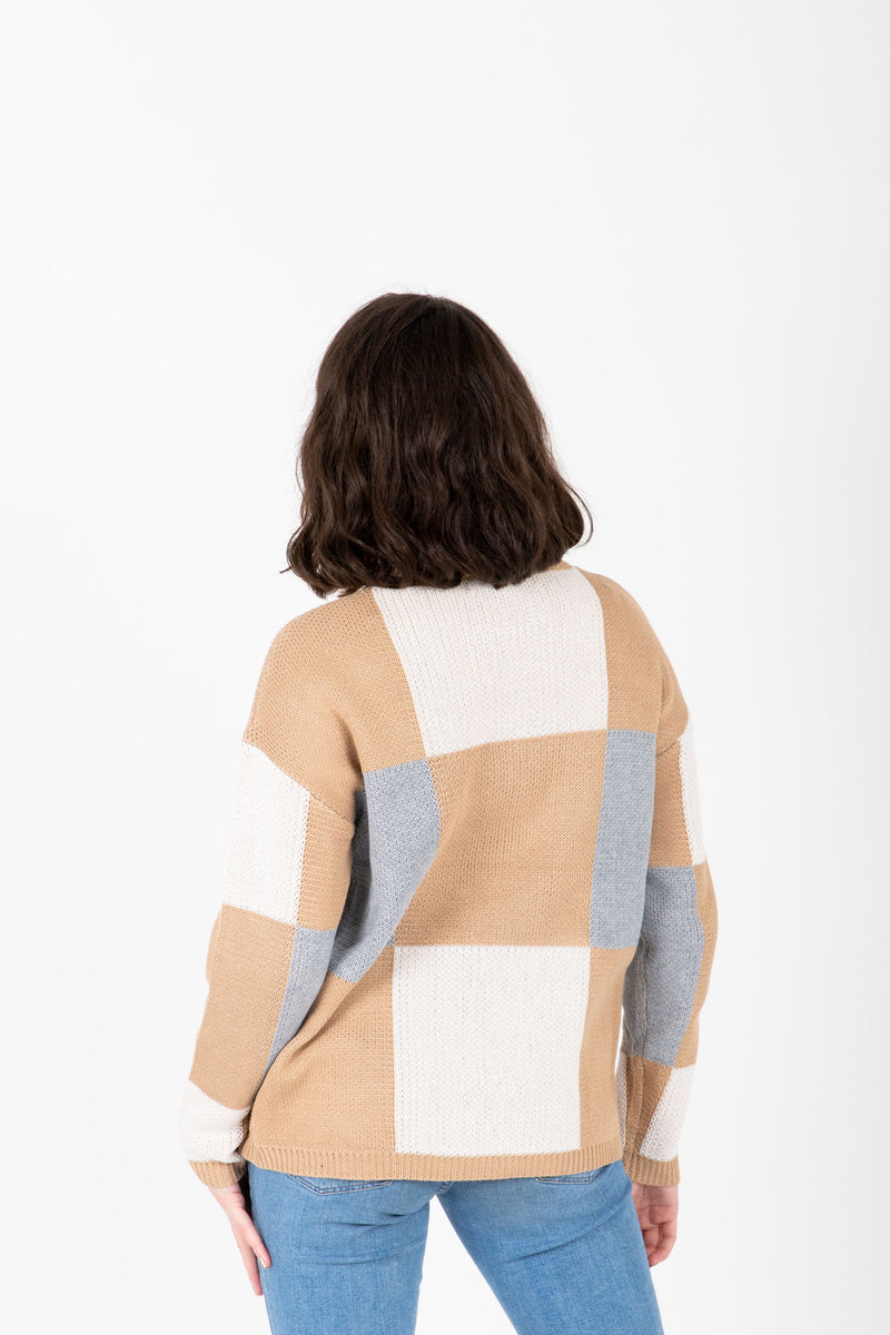 The Metrano Check Mock Neck Sweater in Camel, studio shoot; back view