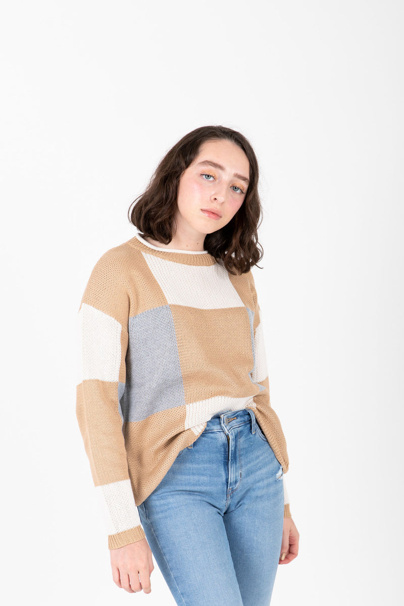 The Metrano Check Mock Neck Sweater in Camel, studio shoot; front view