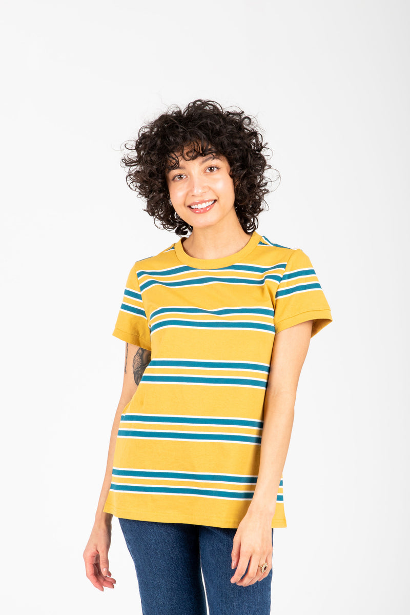 The Luka Striped Tee in Mustard, studio shoot; front view