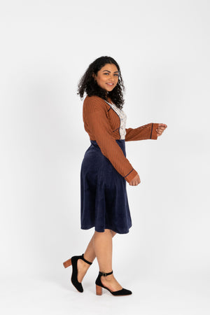 Piper & Scoot: The Margaret Collared Silk Dress in Navy + Rust, studio shoot; side view