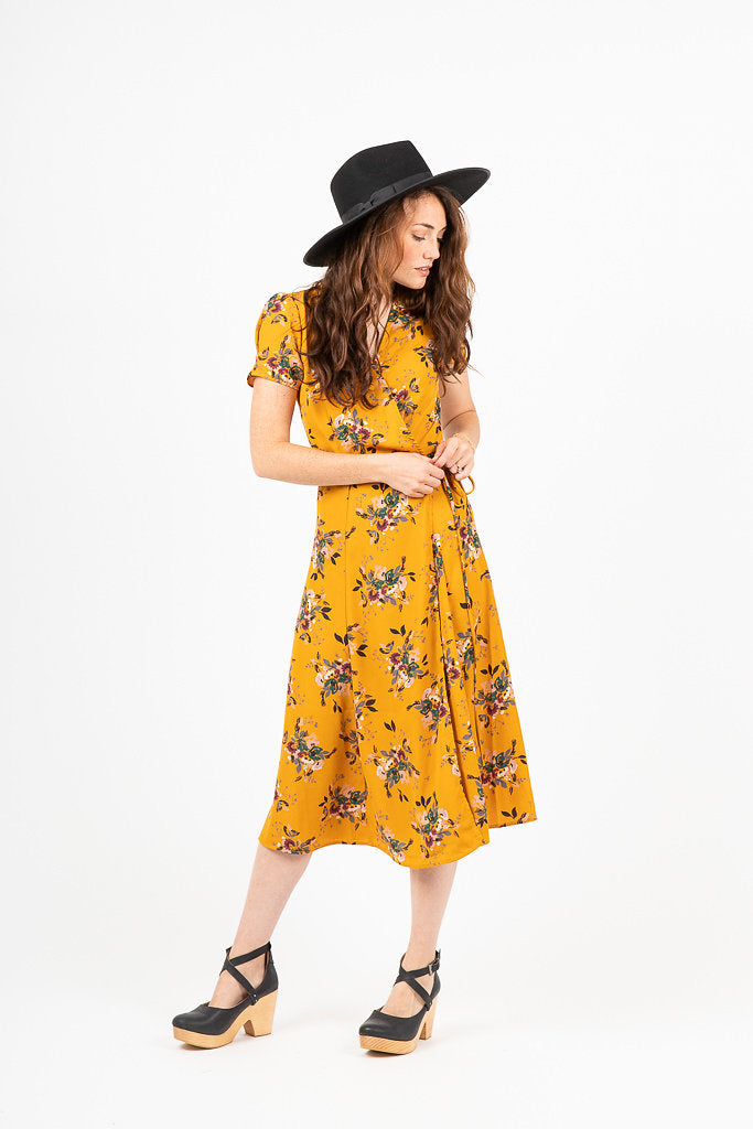 The Maurice Floral Wrap Dress in Mustard