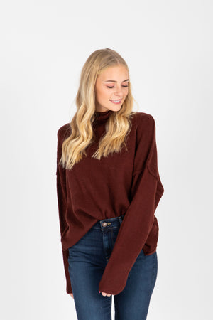 The Fay Soft Turtleneck Sweater in Burgundy, studio shoot; front view