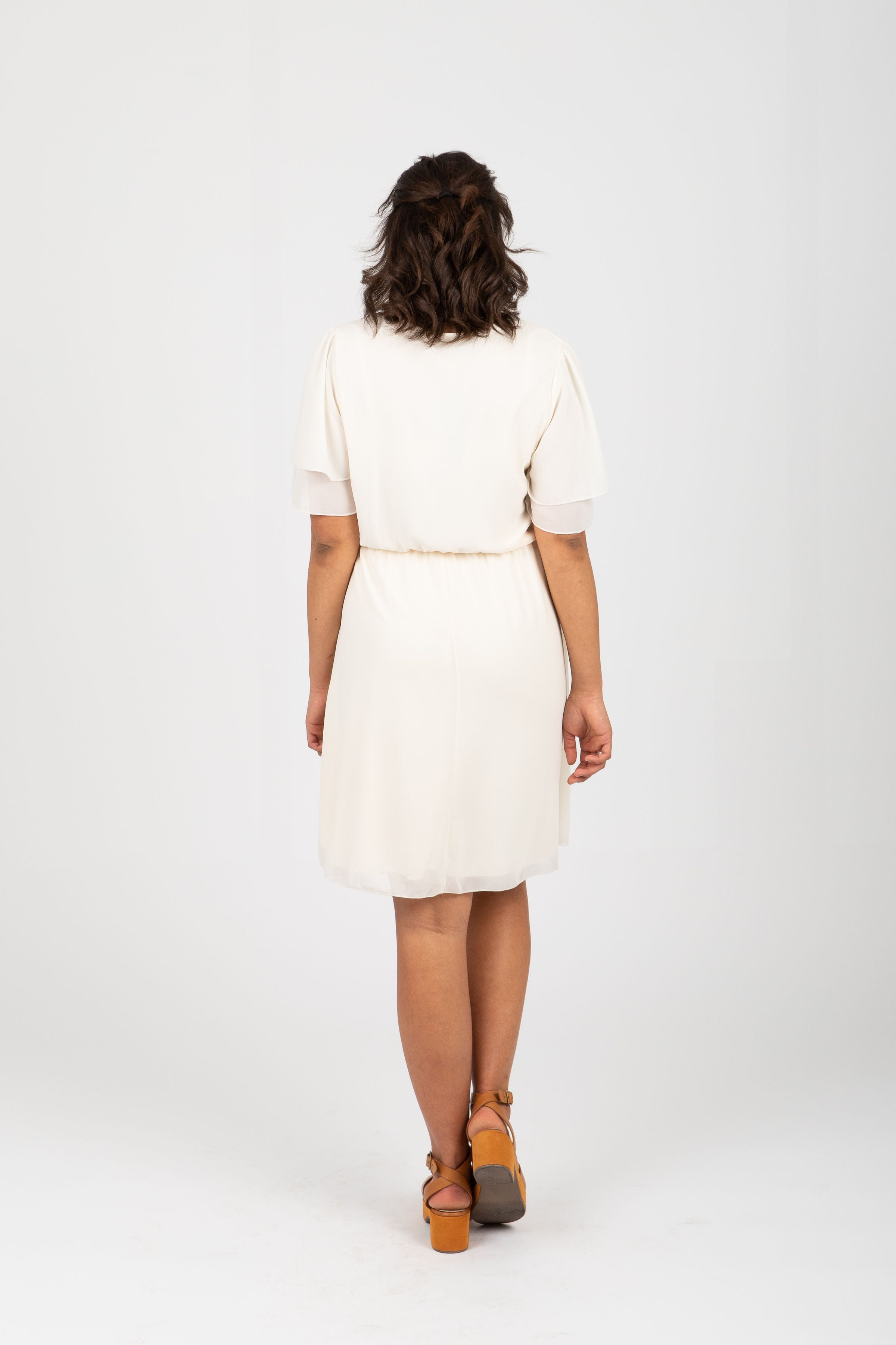 The Claire Chiffon Flutter Dress in Ivory